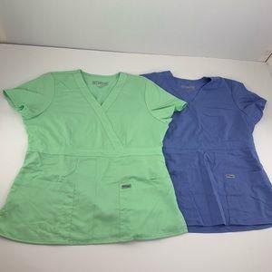 Greys Anatomy Scrub Top Lot of 2 Mint Blue Green